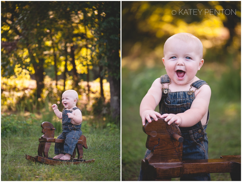 One year old boy and rocking horse, Tribble Mill Park