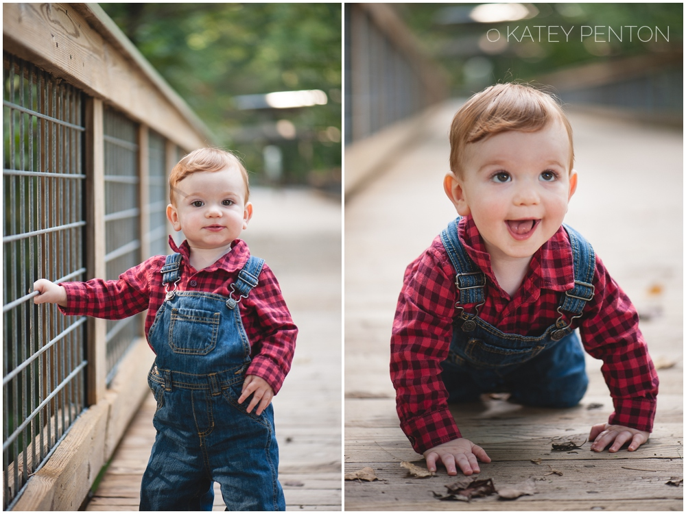 Flannel and overalls, fall baby portraits