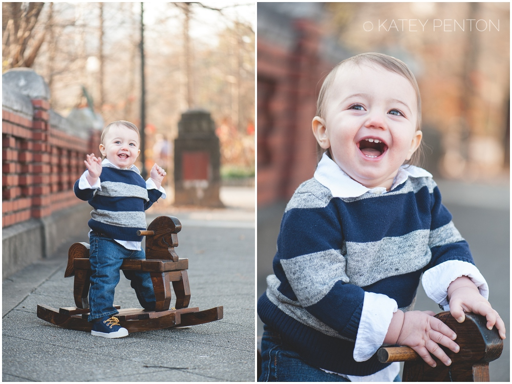 One year old portraits, rocking horse