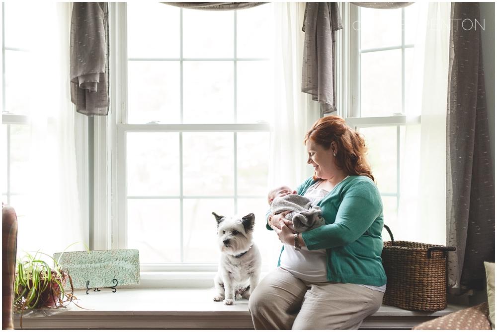 Newborn with mom and puppy dog, lifestyle newborn