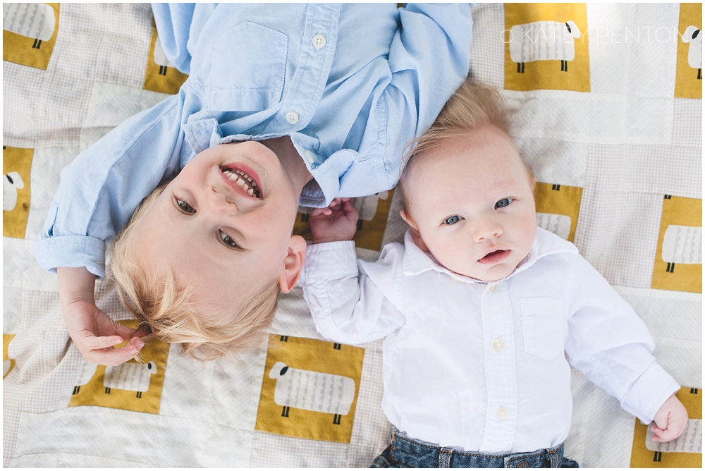 two brother laying on blanket portrait, baby portraits, Conyers family photographer