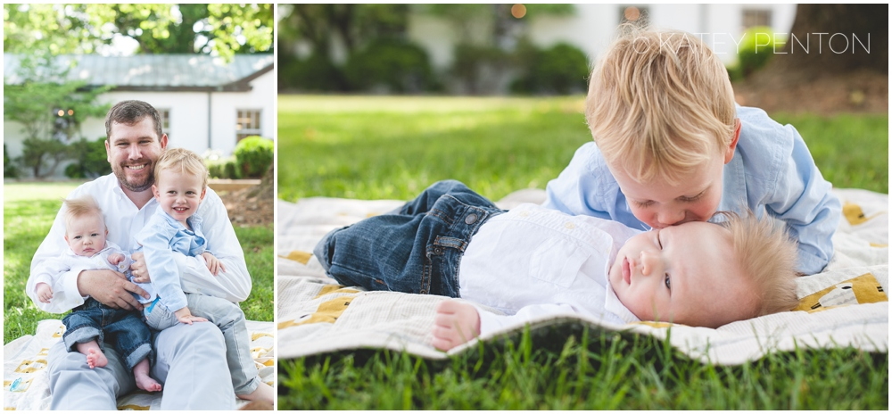 Big brother and baby brother portraits at Monastery in Conyers