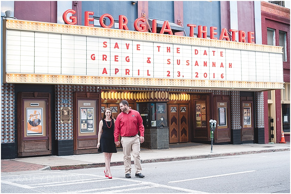Georgia Theater Athens Engagement, save the date in lights