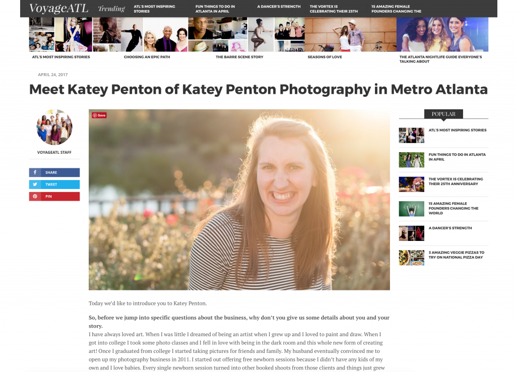 Katey Penton Photography popular east Atlanta photographer, interview
