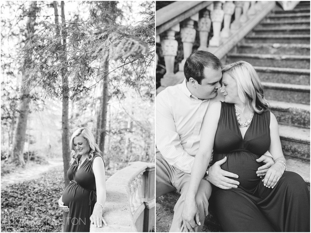 black and white maternity portraits at Cator Woolford Garden in Decatur, GA