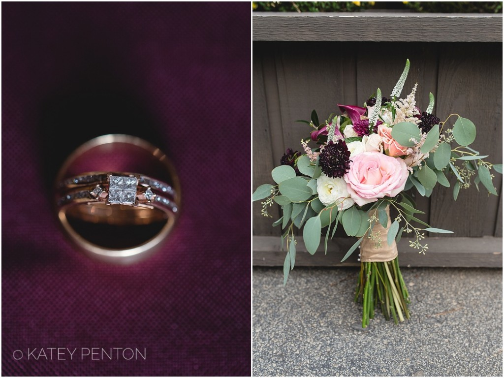purple wedding details, gold wedding band and engagement ring, oganic natural wedding bridal bouquet