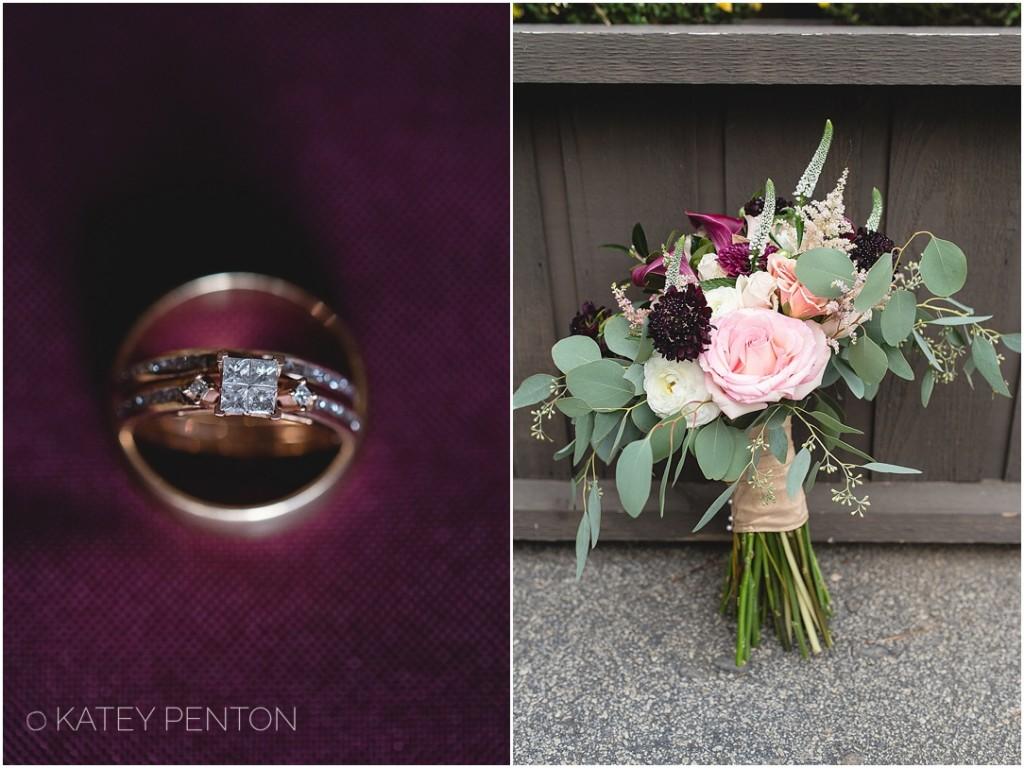 purple wedding details, gold wedding band and engagement ring, oganic natural wedding bridal bouquet