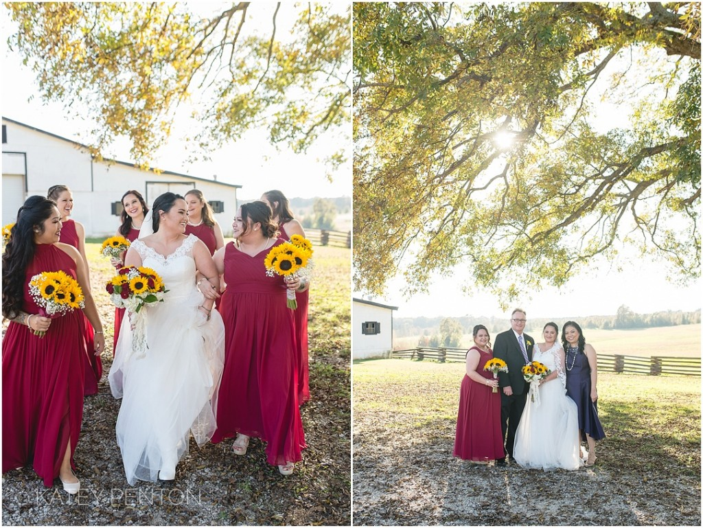 bride and her bridesmaids at wedding at Nash Farm Battlefield in McDonough Hampton GA, bridesmaids wearing red long dresses, sunflower bouquets