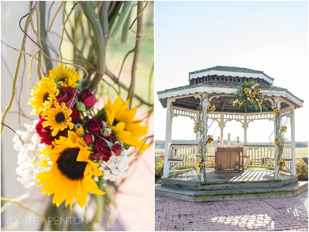 sunflower bouquet for wedding and sunflower ceremony space decorations, gazebo