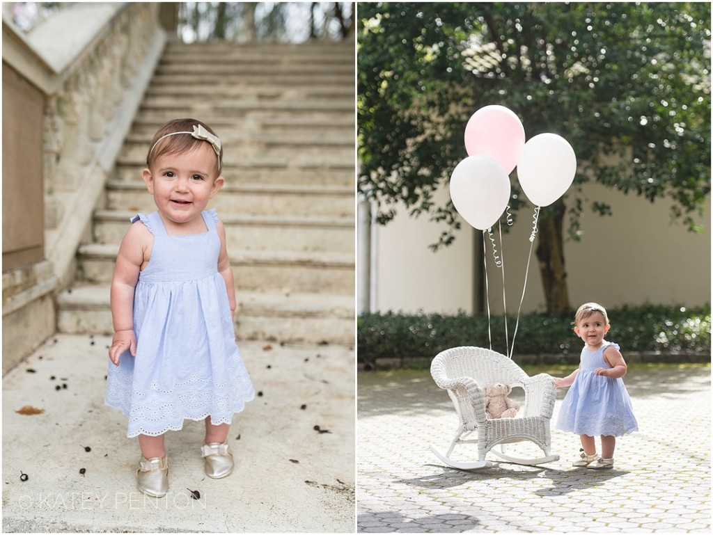 Cator Woolford Garden one year portrait session, baby garden portraits, pink birthday balloons, Katey Penton Photography
